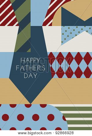 Happy Fathers Day, Vector Greeting Card. Multicolor Necktie And Bowtie, Creative Clothing And Access