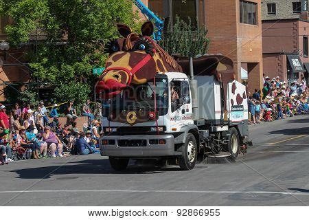 Street Sweeper With Horse Costume At Calgary Stampede Parade