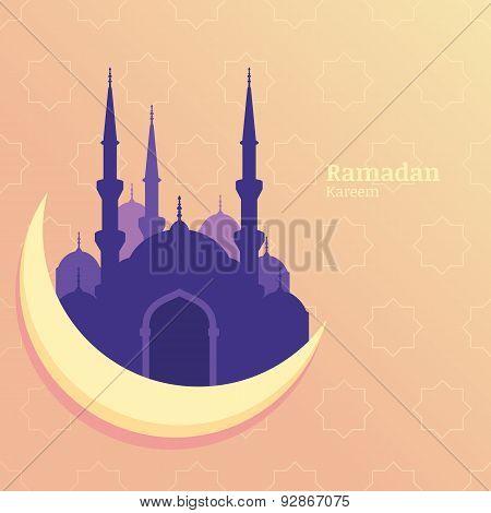 Ramadan Kareem Vector Greeting Card, Silhouette Of Purple Mosque On Moon. Star Pattern Yellow Backgr