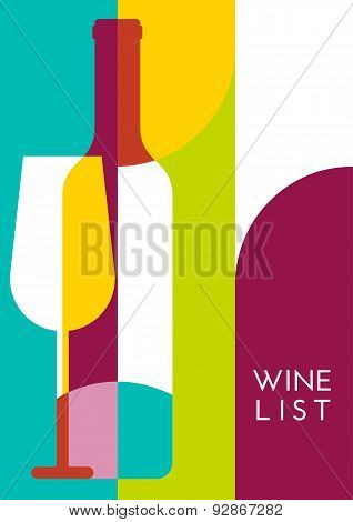 Vector Creative Wine Bottle, Glass Silhouette. Abstract Flat Color Blocking Geometric Background. Co