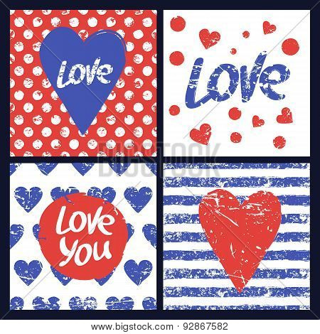 Set Of Vector Card Template. Heart, Hand Drawn Word Love, Seamless Stripe, Polka Dot Pattern.