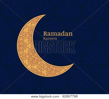 Ramadan Greeting Card With Golden Decorative Moon And Floral Seamless Pattern Background. Ramadan Ka
