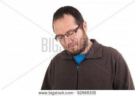 Sad Man Isolated On Background