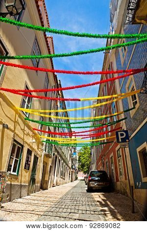 Lisbon Street With Holiday Decoration During Lisbon Festival, Portugal