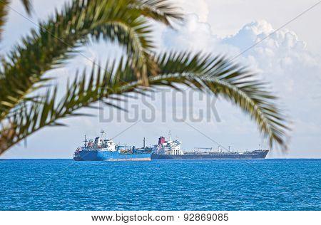Industrial Ships In Mediterranean Sea Near Cyprus