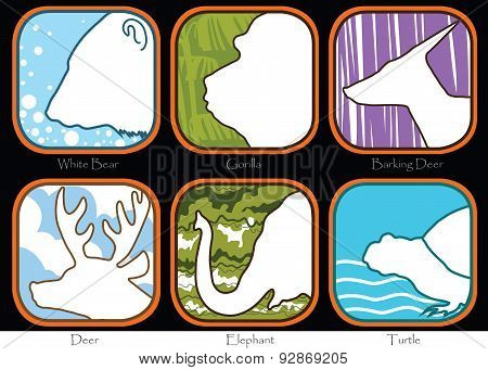 Bear Gorilla Barking Deer Elephant Turtle