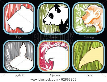 Tiger Monkey Panda Tapir Macaws Rabbit