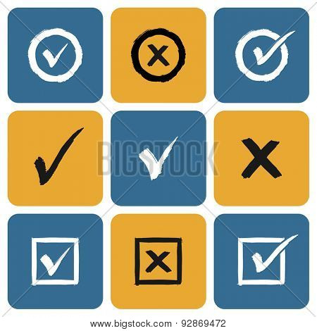 Vector Set of hand drawn Check Marks Icons. Ticks and Crosses Represents Confirmation, Right and Wrong Choices
