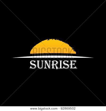 Vector Icon Sun over horizon. Sunrise logo yellow symbol