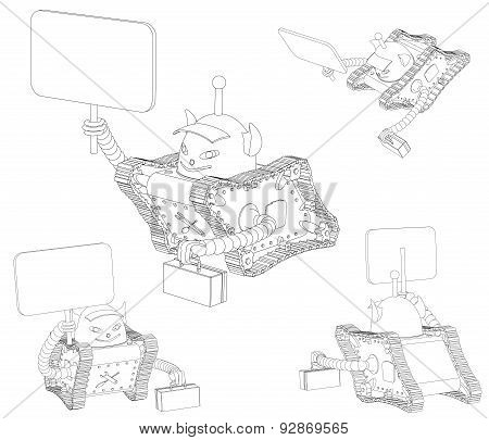 Robot On Tracks With A Sign And A Box, Outline Drawing On A White Background