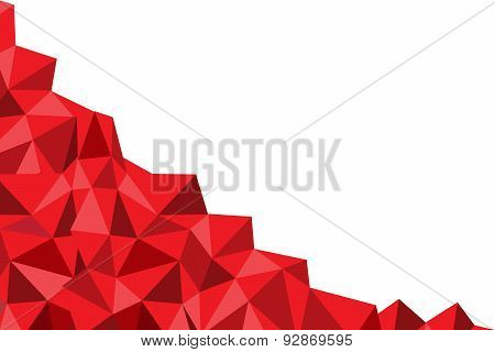 red poly on the white background