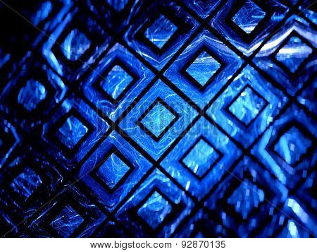Blue Glowing Gpu Grid In Cyberspace