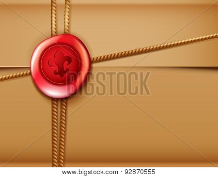 Package Background With Red Wax Seal