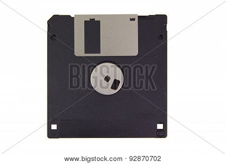Back part of a black floppy disk isolated on a white background