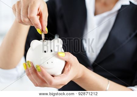 Piggy Bank And Woman