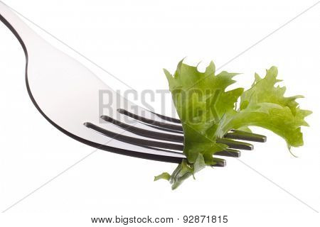 Fresh lettuce salad  on fork isolated on white background cutout. Healthy eating concept.