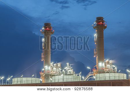 Smokestack In Power Plant At Night