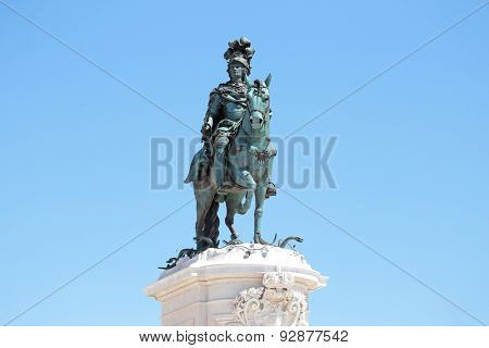 Statue of King Jose on the Commerce square (Praca do Comercio) in Lisbon, Portugal