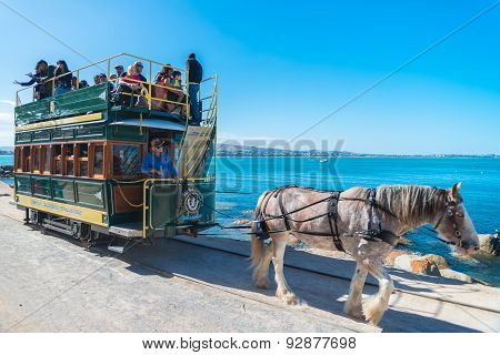 Victor Harbor horse drawn tram with people