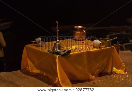 Table With Attributes For Ganga Aarti Ceremony