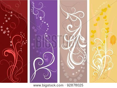 Color vertical banners with floral design.