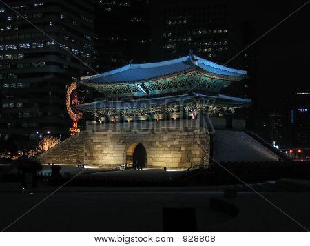 Korean Monument At Night