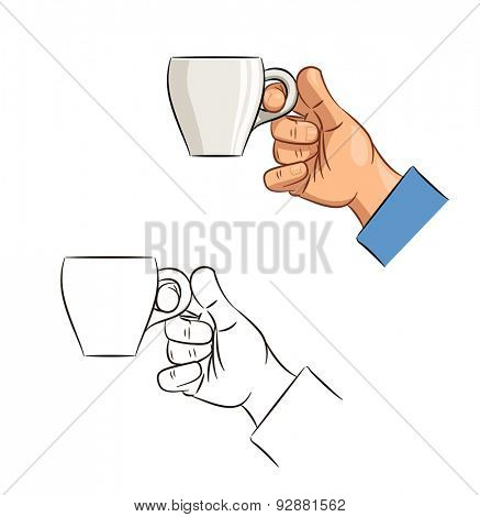 Cup of coffee in hand. Eps10 vector illustration. Isolated on white background