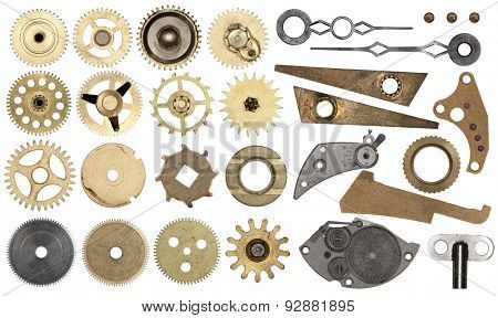 Clockwork spare parts. Set gear, cogwheels, isolated