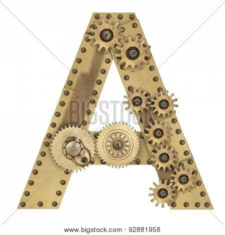 Steampunk mechanical metal alphabet letter A. Photo compilation