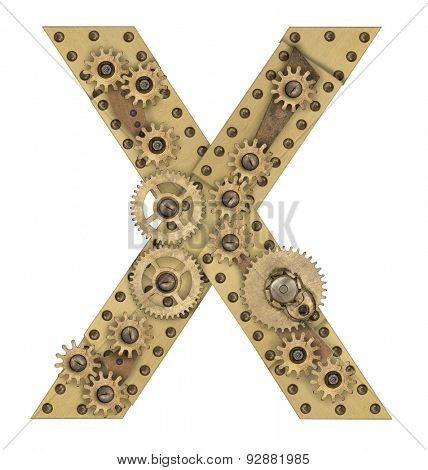 Steampunk mechanical metal alphabet letter X. Photo compilation