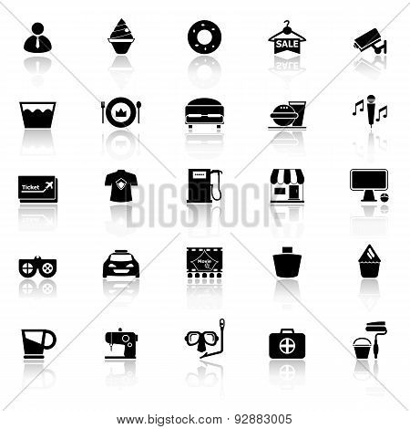 Franchisee Business Icons With Reflect On White Background