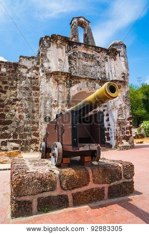 Remains Of The A Famosa Portuguese Fort In Melaka, Malaysia