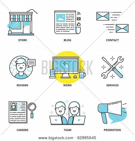 Website Navigation Vector Icons Set