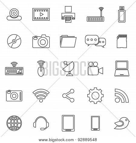 Hi-tech Line Icons On White Background