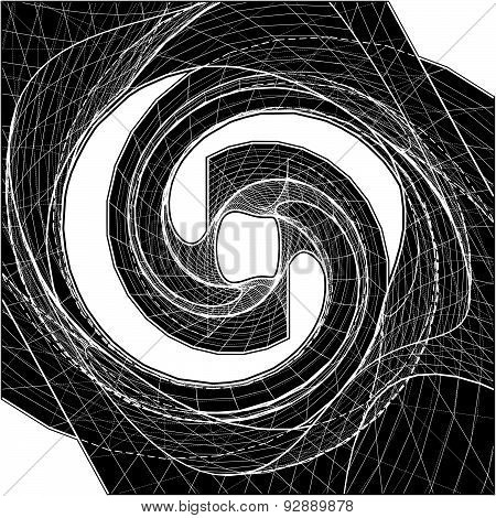 Geometric Twisted Organic Wireframe Shape Vector