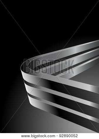 Abstract dark background with bent 3D steel bars and black copy space.