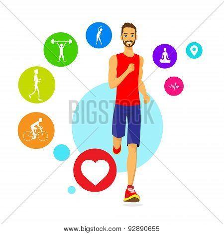 Sport Man Run Fitness App Tracker Icons Wearable Technologies Smart