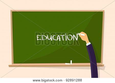 Education Hand Draw Chalk on Green Board