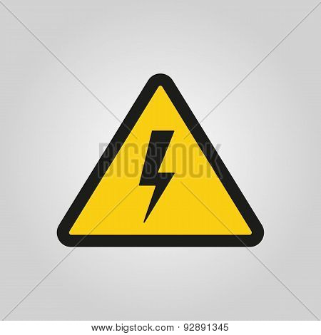 The Lightning Icon. Danger Symbol. Flat