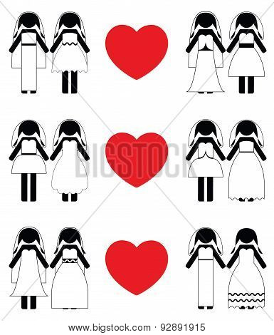 Lesbian brides icon set