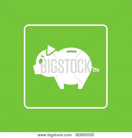 Piggy Bank Icon Thin Line Simple Logo Minimalistic Style