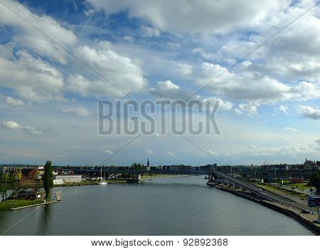 Odra river in Szczecin