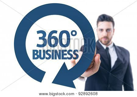 Business man pointing the text: 360 Business