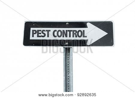 Pest Control direction sign isolated on white