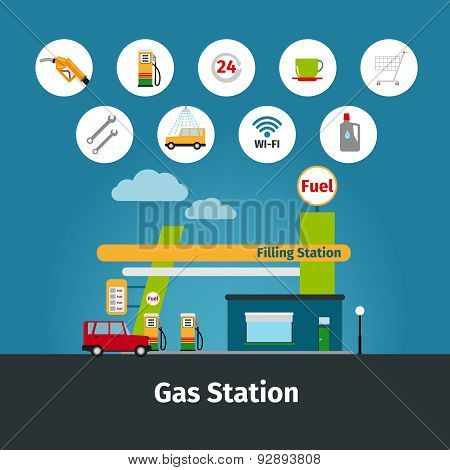 Gas station with flat icons