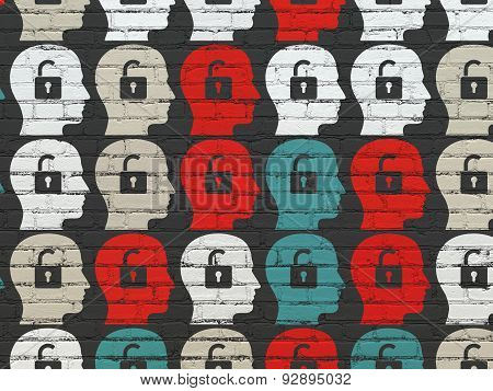 Business concept: Head With Padlock icons on wall background