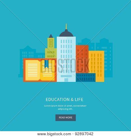 Flat design modern vector illustration icons set of online education and urban landscape