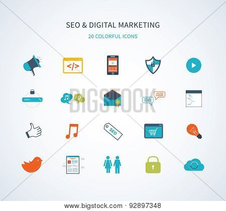 Flat design modern vector illustration icons set of website SEO optimization and digital marketing.