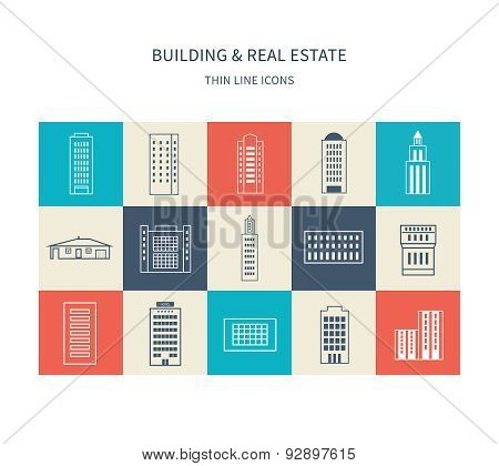 Buildings colorful and thin line icons
