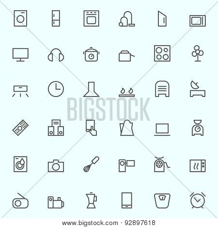 Set of household appliances icons, simple and thin line design